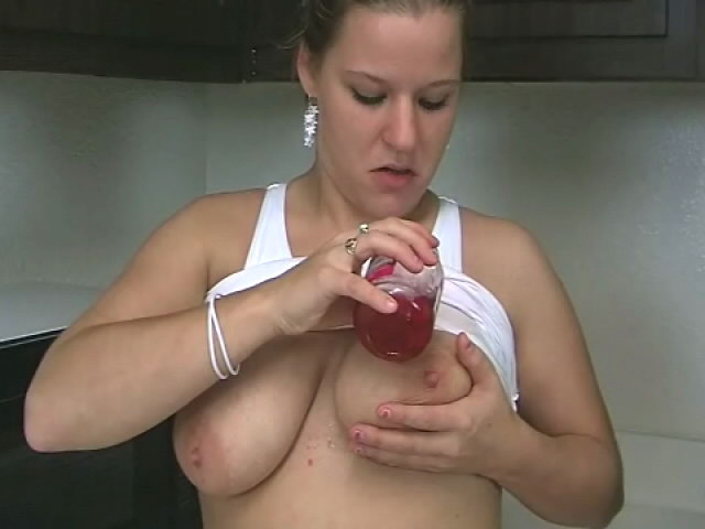 Ample Meloned Blond Teenage Christy Stretching Cherries On Her Killer Assets Within The Kitchen